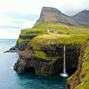 The secluded village of Gásadalur overlooking the North Atlantic.
