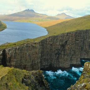 Lake Leitisvatn, the largest lake in the Faroe Islands.